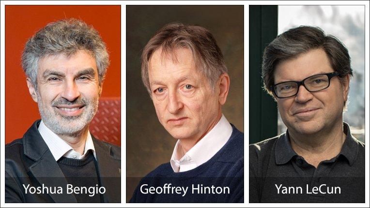 Yann LeCun, Geoffrey Hinton et Yoshua Bengio reçoivent le prix Turing