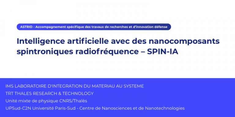 Le projet Astrid SPIN-IA – Intelligence artificielle avec des nanocomposants spintroniques radiofréquence