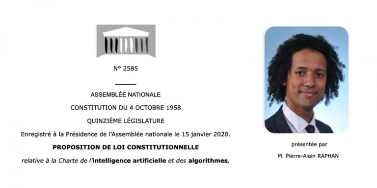 Découvrez la proposition de loi constitutionnelle relative à la Charte de l'intelligence artificielle et des algorithmes déposée à l'Assemblée Nationale
