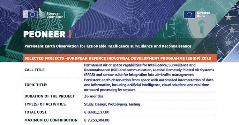 9 entreprises dont Earthcube sélectionnées pour développer la plateforme européenne de renseignement, de surveillance et de reconnaissance