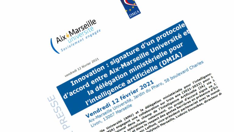 Aix-Marseille Université et la délégation ministérielle pour l'intelligence artificielle signent un protocole d'accord