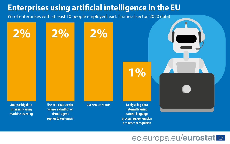 Selon les systèmes d'IA, on constate une utilisation plutôt faible de l'IA au sein des entreprises européennes