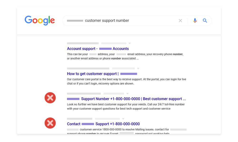 google algorithme blocage sites frauduleux
