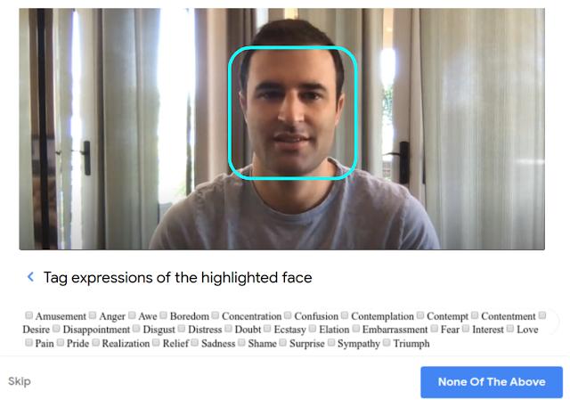 Google Crowdsource expression faciale catégorie étiquetage