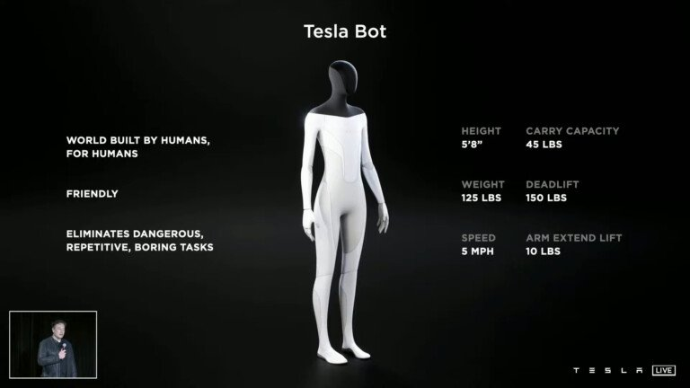 caractéristiques Tesla Bot